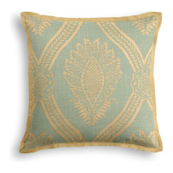 Aqua Medallion Trellis Tailored Throw Pillow - The Tailored Throw Pillow is an updated, contemporary pillow style with the center fabric framed by a thin contrast flange.  Voila! -it's artwork for your couch!  We love it in this large damask-like medallion in brown & biege linen: the perfect centerpiece for traditional design.