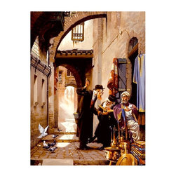 """Trademark Global - Giclee Art Reproduction on Canvas of Together - Giclee on canvas. Ready to Hang Wall Art. Professionally mounted on a lightweight wooden frame. 36 in. W x 48 in. H x 1.5 in. depthGiclee (jee-clay) is an advanced printmaking process for creating high quality fine art reproductions. The attainable excellence that Giclee printmaking affords makes the reproduction virtually indistinguishable from the original artwork. The result is wide acceptance of Giclee by galleries, museums, and private collectors.Now you can experience the individualistic and peculiar incandescence of Hava's photorealistic artwork. """"Togetherness"""" will be a fetching accent to any home or office decor.The Artist known as Hava was born 1962 in Israel. He migrated with his family to the United States in the late 1970's bringing with him a lifetime of memories from his native Middle Eastern culture.Once taking up residency in New York City he was able to bring these memories of the people and landscape to life through his art. Working nightly in the Jazz clubs of New York as a clarinet player he dreamed of the day his first loved art form would be highly acclaimed enough to earn him the respect of his peers and his family.Working the spring and summer art shows of the area his landscape and figurative art began to be noticed for its detail and beauty. A show at an East village gallery brought his art before the collectors and critics of NYC.Moving west as the turn of the century approached Hava broadened his work to cover all the aspects his past of the middle eastern culture.He settled in Sante Fe New Mexico with his wife and 2 young children."""