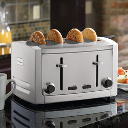 Frontgate - All-Clad Toaster - Four Slice - Crafted of heavy-duty stainless steel with a die-cast finish. Six settings ensure that your toast is perfectly browned. Bagel mode lets you toast one side while warming the other. High-lift mechanism lets you easily remove small items. Features a defrost button, cancel button, and convenient pullout crumb tray. These professional-quality All-Clad Toasters are packed with all of the latest features into an attractive housing that looks great in the kitchen. They feature extra-wide and deep slots that are ideal for bagels and thick slices of artisan bread.   2-ft. cord; 120V. Convenient cord wrap feature on the underside of the toaster. 2-slice is 1000 watts; 4-slice is 1800 watts.