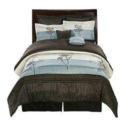 Bed Linens - Portland 8-Piece Comforter Set Queen-8PC-Set  Aqua Blue - The colors of this set are combination Aqua blue metallic and Coffee Brown.