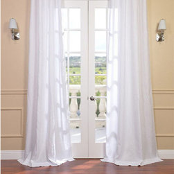 Half Price Drapes - Signature Purity White French Linen Sheer Single Panel Curtain Panel, 50 X 120 - - Our signature French Linen Sheer Curtain panel is second to none when it comes to quality, light diffusion, and style. This sheer panel creates privacy while still allowing sunlight into your home. The high quality linen provides and subtle texture to any room.  - Single Panel  - 3 Rod Pocket  -   - Pole Pocket  - Dry clean  - 100% Linen  - Unlined  - 50x120  - Imported  - White Half Price Drapes - SHLNCH-GB1001031-120