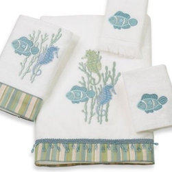 Avanti - Avanti Reef Life Hand Towel in White - These cotton sheared velour towels bring the beauty of the sea to your bathroom with a collection of embroidered and appliqued seahorses, fish and coral. The striped fabric and dangling beaded trim is a charming accent.