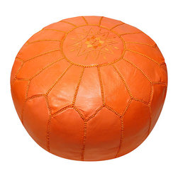 Leather Orange Pouf Ottoman - Rock the nursery with this orange pouf ottoman. I'd pair it with white walls, light wood tones, and pops of turquoise and yellow. This could be mama's helper at the foot of a rocking chair.