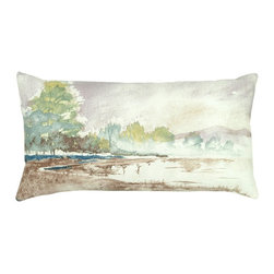 Rizzy Home - Rizzy Home Watercolor Lake Scene Decorative Throw Pillow Multicolor - T05630 - Shop for Pillowcases and Shams from Hayneedle.com! The Rizzy Home Watercolor Lake Scene Decorative Throw Pillow is a plush work of art perfect for your sofa. A charming accent pillow this one has a 100% cotton cover printed with a lovely watercolor design. This pillow includes a plush removable insert and is finished with a hidden zipper on the side. To clean simply remove and machine wash the cover in cold water and lay flat to dry.About Rizzy HomeRizwan Ansari and his brother Shamsu come from a family of rug artisans in India. Their design color and production skills have been passed from generation to generation. Known for meticulously crafted handmade wool rugs and quality textiles the Ansari family has built a flourishing home-fashion business from state-of-the-art facilities in India. In 2007 they established a rug-and-textiles distribution center in Calhoun Georgia. With more than 100 000 square feet of warehouse space the U.S. facility allows the company to further build on its reputation for excellence artistry and innovation. Their products include a wide selection of handmade and machine-made rugs as well as designer bed linens duvet sets quilts decorative pillows table linens and more. The family business prides itself on outstanding customer service a variety of price points and an array of designs and weaving techniques.