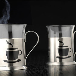 BergHOFF - 2-piece Coffee Cup Set - Make a change to your morning routine or surprise a friend with this intimate coffee cup set. This product comes in a set of two and features a stainless steel holder. This coffee cup set features a glass body and is lightweight at only 8 ounces.