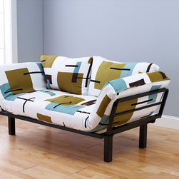 None - Eli Spacely Multi-Flex Daybed Lounger in Black Metal and Geo White-Green Fabric - Add seating to your home with this modern daybed lounger. Made from black metal for added durability, the versatile lounger converts from a chair to a lounger or a bed. It comes with an upholstered mattress with a geometric design and two pillows.