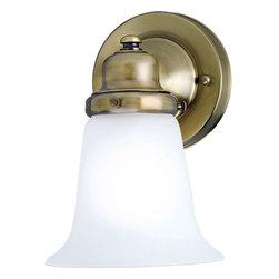 Progress Lighting - Progress Lighting P3832-11 Etched Glass 1 Light Bathroom Light In Antique Brass - Progress Lighting P3832-11 Etched Glass 1 Light Bathroom Light In Antique Brass