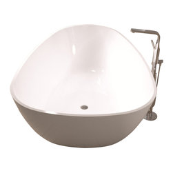 ADM - ADM White Stand Alone Solid Surface Stone Resin Bathtub, Glossy - SW-114