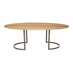 Noir - Noir - Oval Table w/ Walnut Top - Both classic and modern oval walnut table top with slim metal frame. Knots, gouges, cracks and nail holes are inherent characteristics of this wood product and does not constitute damage/defects. Claims will not be considered for these characteristics.