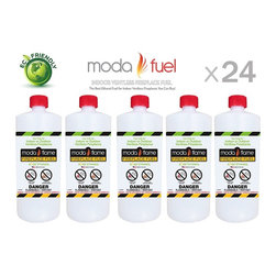 Moda Flame - Moda Flame 1 Quart Bio Ethanol Fireplace Fuel (24 Bottles) - Enjoy Moda Flame unique bio ethanol fuel developed completely from renewable resources. Moda Flame Bio Ethanol Fireplace Fuel is proudly made in the USA. This fuel is clean burning and designed for ventless fireplaces. It is vent-free, non-toxic, smokeless, odorless and environmentally friendly fireplace fuel. This fuel burns clean, producing  CO2 and steam in similar proportions as that exhaled by humans. Moda Flame Fuel is rigorously consistently tested to ensure that air quality complies with the strict international government regulations.