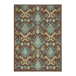 Nourison - Nourison Vista VIS20 5' x 7' Chocolate Area Rug 13792 - Add a sophisticated splash of color and instant interest to any room with this striking over-sized Ikat design. Presented in tropical shades of teal, blue, turquoise and olive and offset by a molten chocolate brown background, this remarkable rug makes a stunning style statement. Select areas have been hand carved for heightened depth and dimension.