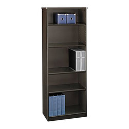 Bush - Bush Series A 5 Shelf Bookcase in Sienna Walnut - Bush - Bookcases - WC25565 - The Bush Series A Collection 5 Shelf Bookcase in Sienna Walnut Bronze will match your other furniture from the Series A Collection. It features three height adjustable shelves, and at nearly 14 inches deep, this bookcase has ample storage space. Make a statement with this bookcase from Bush Furniture.