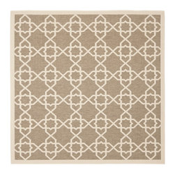 Safavieh - Safavieh Indoor/ Outdoor Courtyard Brown/ Beige Rug (7'10 Square) - This contemporary area rug features muted colors and an eye-pleasing pattern to create a more versatile accent item. Tough and durable, this rug will provide a handsome and stylish addition to the decor of any room in your home or office.