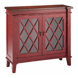 None - Goshen Accent Cabinet - This Goshen accent cabinet comes complete in a weathered carmine red finish that will brighten up any style of decor. Featuring diamond paneled doors and one removable glass shelf,this piece is a must have for any home.