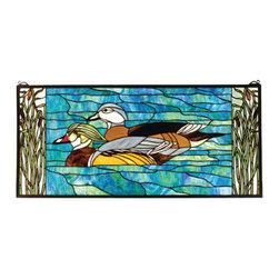 Meyda Tiffany - Meyda Tiffany Wood Ducks Tiffany Window X-21777 - Vivid blue coloring helps to accentuate the pair of ducks on this charming Meyda Tiffany window. From the Wood Ducks Collection, this design features nature-inspired hues that seem to pop against the vivid blue and green hues. Cat tails create a charming frame that completes the look.