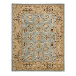 Handmade Heritage Mahal Blue/Gold Wool Rug - Having purchased two rugs from Overstock.com in the past with great success, I think this rug would be a great alternative to a luxury-priced item and still look very stylish.