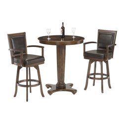 Hillsdale Furniture - Hillsdale Ambassador 3-Piece Pub Table Set - A set that is not only functional and affordable, but attractive. The Ambassador features a rich cherry finish, supple brown leather, a rectangle back stool and transitional design elements. This set perfectly compliments our Ambassador game set or stands alone as an handsome addition to any bar area or kitchen.