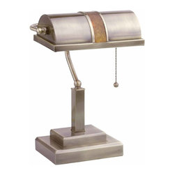 "Renovators Supply - Table Lamps Antique Brass Mission Style Bankers Lamp 15"" H 