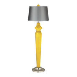 """Color Plus - Contemporary Citrus Satin Gray Lido Floor Lamp with Color Finial - Citrus Color + Plus™ designer color floor lamp. Matching color ball finial. Gray satin shade. Satin steel finish accents. On-off rotary switch. Maximum 150 watt or equivalent bulb (not included). 62"""" high. Finial is 2 1/2"""" wide 3"""" high. 12"""" wide base footprint.  Citrus Color + Plus™ designer color floor lamp.  Matching color ball finial.  Gray satin drum shade.  Satin steel finish accents.  On-off rotary switch.  Maximum 150 watt or equivalent bulb (not included).  62"""" high.  Shade is 14"""" across the top 16"""" across the bottom 11"""" high.  Finial is 2 1/2"""" wide 3"""" high.  12"""" wide base footprint."""