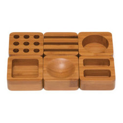 Desktop Blocks - Set of 6 - Your desk has never looked better than it will with your odds and ends neatly sorted into these fun and funky blocks. Each solid bamboo block is uniquely cut, giving you a stylish and whimsical way to sort out your supplies while fitting into even the most conservative office.