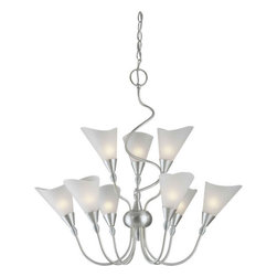 Forte Lighting - Forte Lighting 2127-09-55 Brushed Nickel  26Wx27H 9 Light Chandelier - Contemporary / Modern 9 Light Chandelier26Wx27H9-60 Watt Cand.Features Satin White GlassChain : 6 Wire : 10