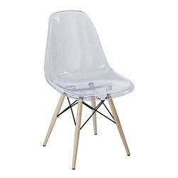 Modway - Pyramid Dining Side Chair in Clear - These molded plastic chairs are both flexible and comfortable, with an exciting variety of base options. Suitable for indoors or out, appropriate for the living and dinning room, these versatile chairs are a great addition to any home d'cor statement.
