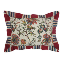 Ellery Homestyles - Waverly Felicite Ivory Pieced Decorative Pillow - - Create a bedroom retreat with classically elegant bedding by Waverly.   - Beautiful, traditional Jacobean floral, infused with jewel tones of rosewood, navy, gold, terra cotta, mallard blue, and fern green on an ivory ground adorn the comforter top.   - Easily change your look by flipping the comforter over to reveal the bold red, blue and ivory Torino Stripe reverse.   - A Jump  Tack quilting technique adds a luxurious loft to the comforter face.   - Comforter and shams are finished with decorative ribbon embellishments.   - Drapery panel pair features an all-over Jacobean floral pattern, along with coordinating tie backs.   - Scalloped Kristy valance features an allover Jacobean floral pattern with a 2? Torino Stripe trim finish.   - Hang two drapery panels and one valance to create complete window ensemble.   - Versatile panel top treatment allows for rod pocket or back tab hanging options.   - Euro sham is a bold Torino Stripe featuring a horizontal 2? Torino Stripe flange, detailed with gros-grain ribbon and three-pleat corners.   - Delicate floral embroidery with scrolling leaves adorns the square, ivory accent pillow.   - Solid red pleated accent pillow brings the collection together.   - Imported.   - Accessories sold separately.   - Ivory pieced pillow only, all other coordinating items sold separately. Ellery Homestyles - 11341014X020IV