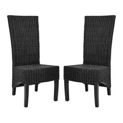 Safavieh - Siesta Side Chair (Set Of 2) - Black - Crafted of black wicker with a mahogany frame in a chic black finish, the Siesta side chair is brimming with casual, transitional style. Paring tactile woven wicker with a tall back and sloped bottom, Siesta brings true sophistication to the dining room, and brings warmth and hospitality to any gathering. Sold in sets of two.