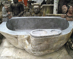 Bathrooms (vanities, vessel sinks, bathtubs, tile) - River Boulder Bathtub or Hot Tub hand made from a single piece of stone.  Contact Impact Imports for pricing and installation ideas.