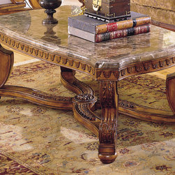 Tarantula Cocktail Table with Marble Top - Beautiful wood coffee table. Finished in a burnish brown cherry finish, this table features a beveled marble top.
