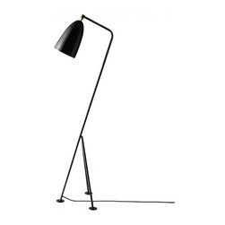 """BestLite - BestLite Grasshopper floor lamp - Product Details:    The Grasshopper Floor Lamp from Bestlight. This is available in color choice of black, anthracite grey, vintage red, warm grey and light blue.   Product Details:    The Grasshopper Floor Lamp from Bestlight. This is available in color choice of black, anthracite grey, vintage red, warm grey and light blue. Details:                         Manufacturer:                        BestLight                                                 Designer:                        Greta M Grossman                                         Made in:                        Denmark                                         Dimensions:                        Height: 49.4"""" (125.5cm) X Width: 17.1"""" (43.5cm)                                                     Light bulb:                                     1 X 60W Medium Base Incandescent                                         Material:                        metal                         Bestlite has been in continuous production since the 1930's with Winston Churchill amongst its many famous users.  The Bestlite design was conceived by Robert Dudley Best who was highly infuenced by the Bauhaus movement. Bauhaus, is the German school that merged practical crafts with fine arts, which had profound infuence upon subsequent developments in art, architecture, graphic design, interior design and industrial design. The Bauhaus style became one of the most influential forces behind Modernist architecture and modern design.   Eighty years on, the Bestlite design stays close to its industrial roots and true to its original design. Bestlite is held in permanent collections at both the Victoria & Albert Museum and the Design Museum in London. Loved by architects, designers and design afcionados through its 80-year history, today, Bestlite enjoys global iconic status."""