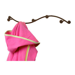 Spectrum Diversified Designs - Sweep 5-Hook Wall Rack - Bronze - A cute little curve. Hang coats, hats, purses and scarves with the Sweep 5-Hook Wall & Coat Rack. Made of sturdy steel with a bronze finish.