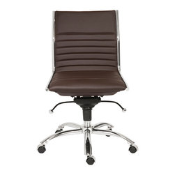 Euro Style - Dirk Low Back Office Chair W/O Arms - Brown/Chrome - High or low. Armrests or not, the Dirk design is very popular for all the right reasons. The front of the seat and the top of the back are one-piece sections for a finished look. The inner seat and lower back are flat bungee bands which offer outstanding comfort that is famous everywhere in the known world.