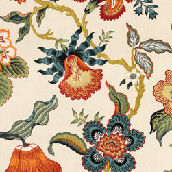 Hot House Flowers fabric, in Spark - For the Traditionalist in all of us. Linen, botanical and a killer color palette.