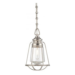 Joshua Marshal - One Light Satin Nickel Clear Glass Down Mini Pendant - One Light Satin Nickel Clear Glass Down Mini Pendant