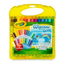 Crayola - Crayola Window Marker & Stencil 31-Piece Storage Set - Turn any window or mirror into a beautiful work of art with Crayola's Window Marker & Stencil set. Complete with its own carry/storage case, the set includes 25 washable window markers and 4 stencil sheets for creating all different window scenes.