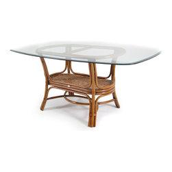Boca Rattan - Boca Rattan Biscayne Oval Dining Table w/ Glass Top in Royal Oak - Boca Rattan Biscayne Oval Dining Table w/ Glass Top in Royal Oak