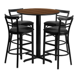 """Flash Furniture - 24"""" Round Walnut Laminate Table Set with Metal Bar Stools - Black Seat - No need to buy in pieces, this complete Bar Height Table and Stool set will save you time and money! This set includes an elegant Walnut Laminate Table Top, X-Base and 4 Metal Ladder Back Bar Stools. Use this setup in Bars, Banquet Halls, Restaurants, Break Room/Cafeteria Settings or any other social gathering. Mix in Bar Height Tables with standard height tables for a more varied seating selection. This Commercial Grade Table Set will last for years to come with its heavy duty construction."""