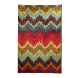 Mohawk Home - Strata Painted Zig Zag Multi Contemporary Chevron 5' x 8' Mohawk Rug (11823) - Take your decor to the next level with this graphic play on a chevron design. Bold primary colors combine to create a design that is fashionable and fun.Action Backing