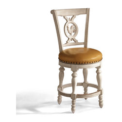 """Frontgate - Provencal Rooster Counter Height Bar Stool (26""""H Seat) - Seat back has a durable, fiveply construction. Dry brush techniques highlight the handcarved details. Nailhead trim, nylon floor glides, and brass-plated footrest. Smooth, 180-degree, lifetime-guaranteed return swivel. Requires minor assembly. Modeled after roosters found on antique French pottery and German Black Forest carvings, our Rooster Barstool is exquisitely detailed from comb to claw. Its substantial bearing, beautiful carvings and tremendous value originate from the hardwood and mahogany veneers.. . . . ."""