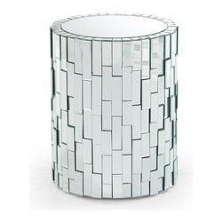 Zuri Furniture - Circa 26-inch Mosaic Mirrored Pedestal - With its art deco look and feel, our Circa contemporary pedestal table adds an air of class and sophistication to any living space. The cylindrical shape creates brilliant contour, showing off its rich reflections. Completely wrapped by mosaic mirrored glass, the Circa pedestal can be styled as a show-stopping piece on its own, or used as an accent piece to existing rich and tasteful decor.