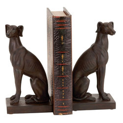 Benzara - Polystone Dog Bookend Pair Designed For Elite Class - If you are looking for low cost but rare to find elsewhere decor item to bring extra galore that could refresh the decor appeal of short spaces on tables or shelves, beautifully carved 44658 Polystone Dog Bookend Pair may be a good choice.