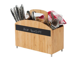Great Useful Stuff - Cutlery Carrier with Chalkboard Label - Stay organized and prepared with this charming cutlery carrier. Setting the table is a snap with the four compartments for spoons, knives, forks and napkins. The whimsical chalkboard stripe invites you to use your creativity to invite your guests to table. This ecofriendly organizer is made from durable and easy to clean bamboo.