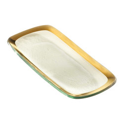"Annieglass - Roman Antique  Relish Tray - Gold Trim - Annieglass handmade Roman Antique relish tray in gold trim. Durable, dishwasher safe, chip resistant and safe for dining. Makes a great wedding gift, birthday gift, baby shower gift, or any other special occassion! Handmade glass 9 x 4"" relish tray produced in the U.S.A. Durable, chip-resistant and dishwasher safe. Banded with 24-karat gold. Each Annieglass piece is handmade from architectural quality glass with Annie Morhauser's trademark slumping process  which is a uniquely developed glass bending technique. Each piece is highly durable, dishwasher safe, chip resistant, and safe for dining."