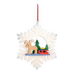 Alexander Taron - Alexander Taron Christian Ulbricht Ornament - Elk in Snowflake - 3.5H x 3W x 1D - Christian Ulbricht hanging ornament - Snowflake with Reindeer and sled - Made in Germany.
