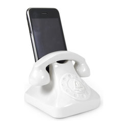 Jonathan Alder - Jonathan Alder Smartphone Docking Station - A universal phone charging dock offers a cheeky nod to the clunky phones of yore. Tech-tastic! Made of high-fired porcelain with a high gloss glaze. The Smartphone Docking Station fits most handheld devices.