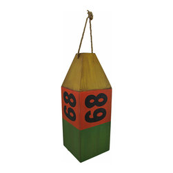 "Zeckos - Wooden Antiqued ""68""Buoy Nautical Decor Green/Red/Yellow - This fantastic buoy has an authentic look that will greatly compliment any nautical theme decorations. Made from wooden panels, the buoy measures 16 1/2 inches tall, 6 inches wide, and 6 inches long. The distressed red, green, and yellow painted finish speaks of a long career upon the high seas. The maritime instrument features the identification number 68' printed in black upon each side. A rope loop through the top of the buoy allows it to hang from any wall or ceiling hook. This piece makes a great addition to any nautical collection and will surely keep your nautically-themed room afloat."