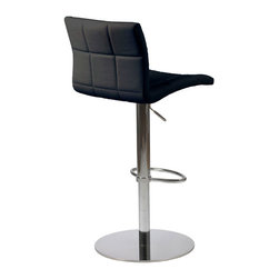 Eurø Style - Cyd Adjustable Bar/Counter Stool in Black Leatherette - Modern design brings beauty and comfort to your bar or counter area with the Cyd Adjustable Bar/Counter Stool in Black Leatherette - Eurø Style.