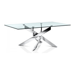 Creative Furniture - Fabio Coffee Table - A contemporary work of art is beautiful, stylish and modern coffee table. This coffee table treat Fabio Collection. This table has a rectangular top made of tempered glass. The base of the table has a creative form of chromed steel. Such a table would look amazing in a room with a modern interior. It will attract the eye of your guests.    Features: