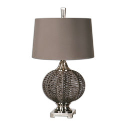 Uttermost - Uttermost Herodion Woven Lamp 27916 - Woven straps finished in a mocha brown accented with brushed nickel plated details. The tapered round hardback shade is a chocolate bronze linen fabric.